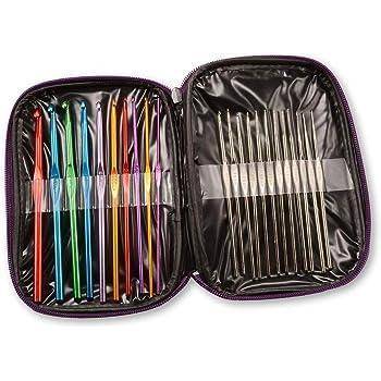 Hemore 1 x Pack de 22 tamaños de ganchillo de acero de aluminio multicolor ganchillo agujas de hilo tejer juego de manualidades con bolsa de organización papelería suministros de oficina: Amazon.es: Hogar