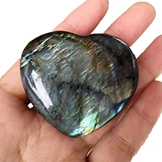 Loveliome Natural Labradorite Crystal, 1.8-2.2 Inch Irregular Shape Heart Reiki Chakra Healing Stone Home Decor