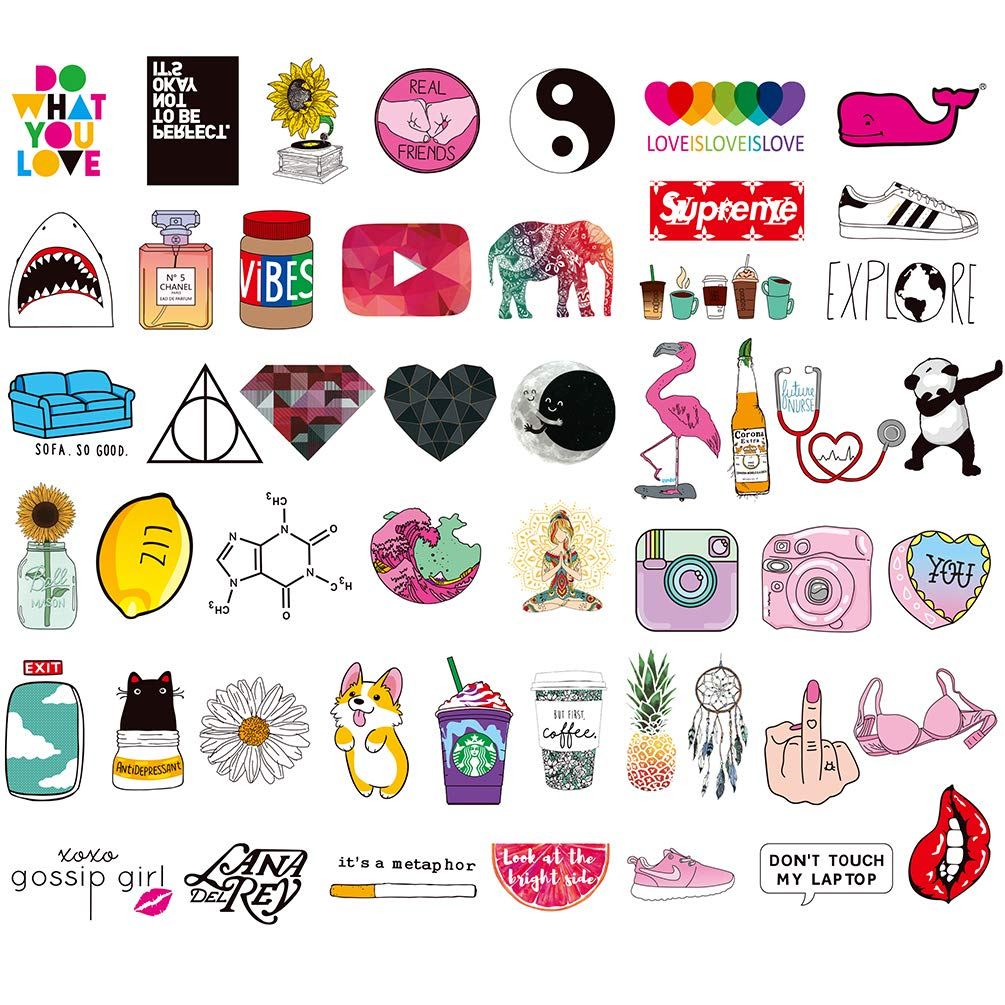 Cute Stickers for Girl, Vinyl Water Bottle Laptop Computer Phone Notebook Luggage Guitar Skateboard Decal 50Pcs Pack
