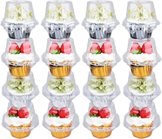 Himetsuya Single Cupcake Boxes -50 packs -Stackable Regular Cupcake Carrier Holder, Thicker Clear Cupcake Boxes, Non-slip High Topping Cupcake Containers for Cupcakes, Muffins