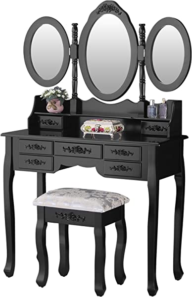 Mecor Makeup Vanity With 7 Drawers Vanity Table Set W Tri Fold Mirror Girls Women Wood Dressing Table Cushioned Stool Bedroom Furniture Black