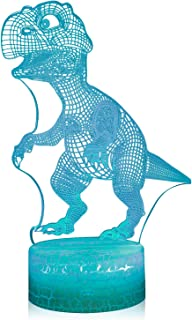 3D Illusion Dinosaur Night Lamp, 7 Color Change, Touch White Crack Base, Power by AA Batteries