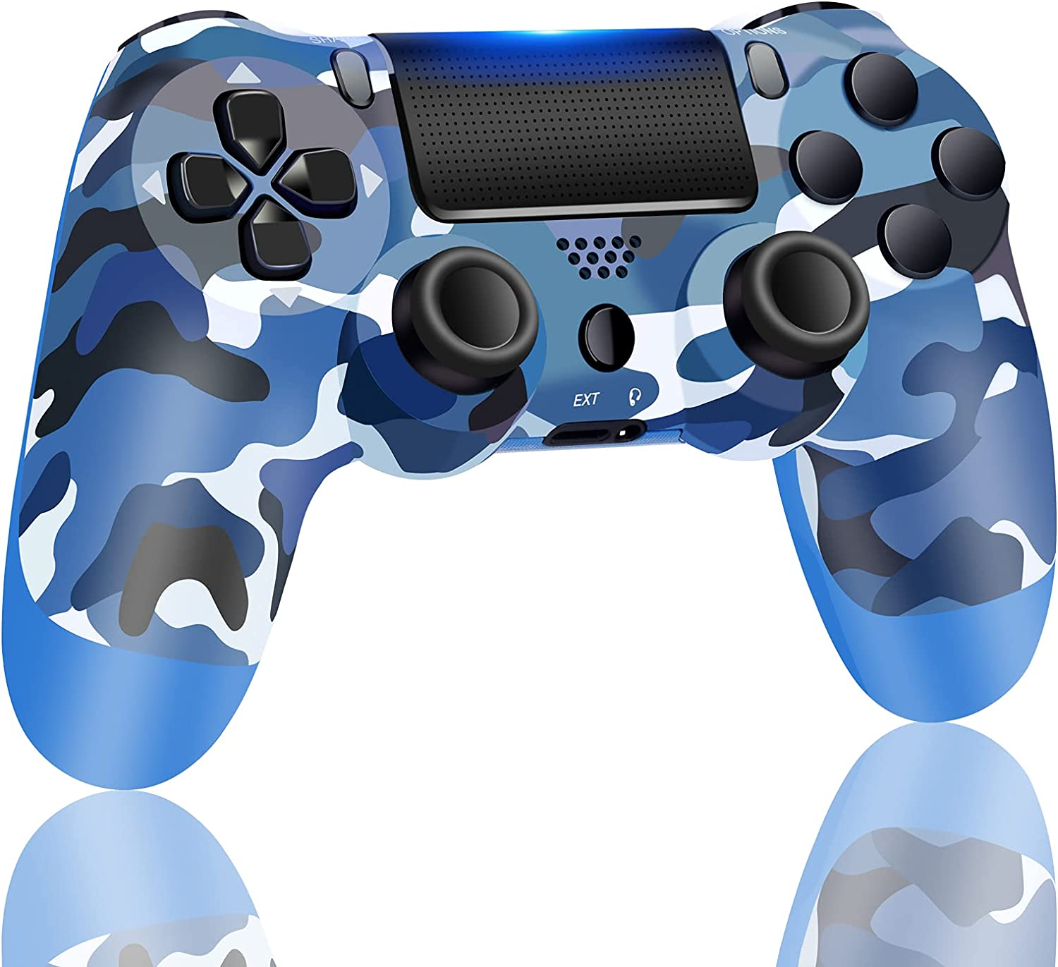 AUGEX Remote Compatible for PS4 Controller, Wireless Controller Work with Playstation 4,with Two Vibration/Stereo Headset Jack/Touch Pad Control,Remote Compatible with PS4/Slim/Pro Console (Navy Blue)