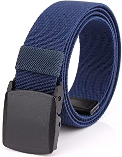 Mens Nylon Webbing Belt - Canvas Adjustable Casual Nickel Free Web Belt with Plastic YKK Buckle