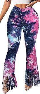 Women Jeans Bell Bottom Pants Plus Size High Waist Tie Dye Jeans Tassels Wide Leg Flare Pants Trousers (Blue, XXL)