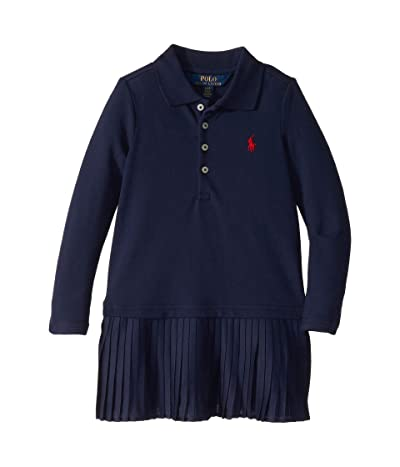 Polo Ralph Lauren Kids Pleated Knit Polo Dress (Toddler) (French Navy) Girl