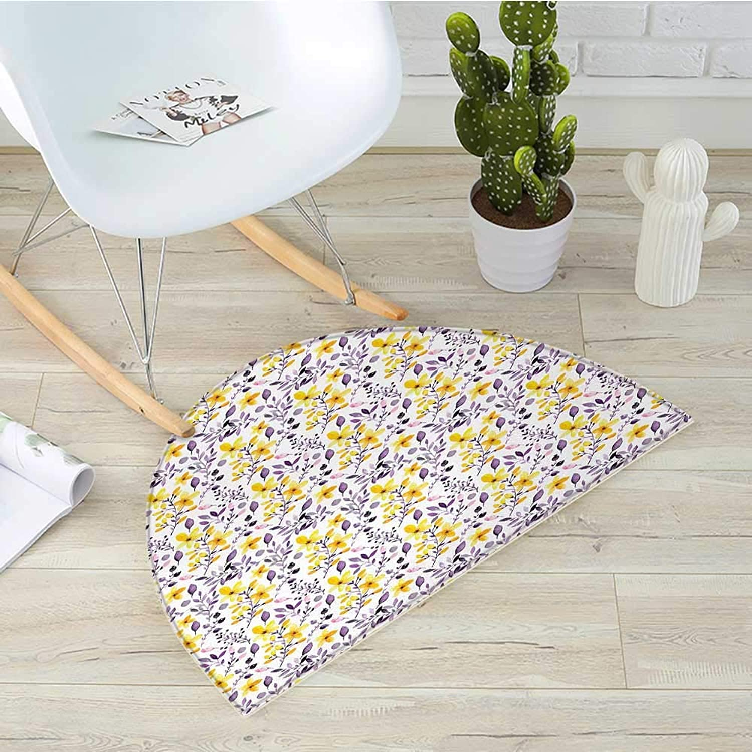 Flower Semicircle Doormat Pattern with Flowers and Leaves Seedling Foliage Spring Rural Artsy Print Halfmoon doormats H 39.3  xD 59  Yellow Purple White