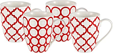 Symphony Marrakech Mug Set of 4, 300 ml (White and Red)
