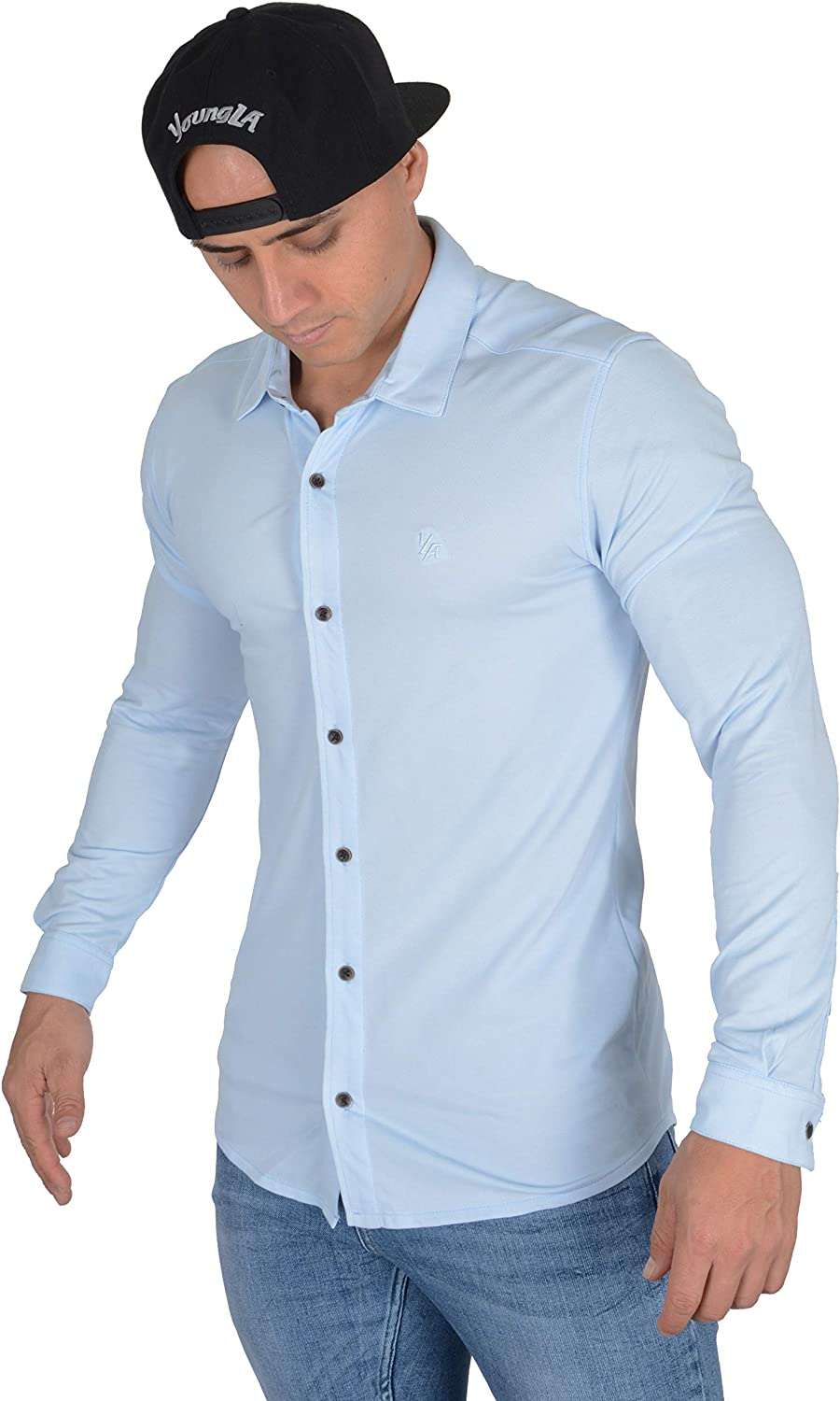 YoungLA Men's Slim Phoenix Mall FIt Dress Shirts Long Up Max 59% OFF Button A Sleeves