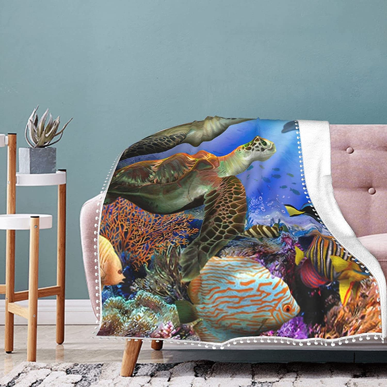 free Sea Turtle Coral Fish Blanket Throw F Overseas parallel import regular item with Fleece Pompom