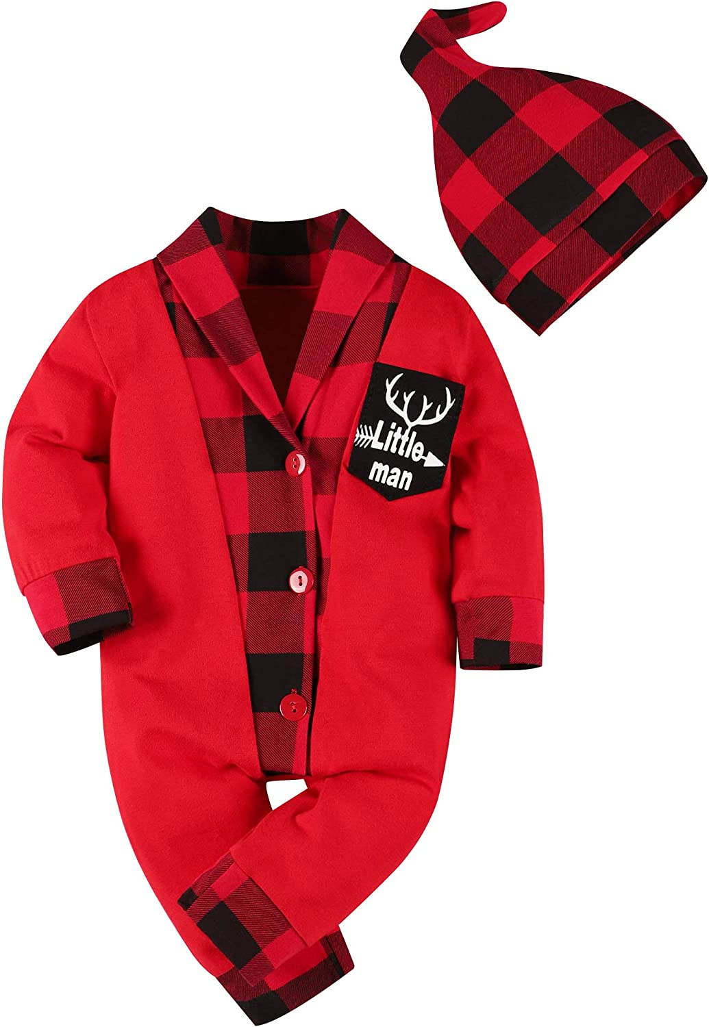Newborn Baby Boy Clothes Red Plaid Christmas Outfit Little Man Romper Bodysuit Overall with Hat 2pc Infant Clothes