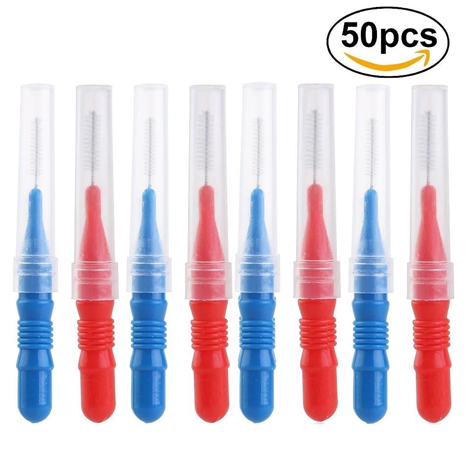 洞察力実際の思慮深いROSENICE 歯間ブラシ 50本 (25xレッド,25xブルー)