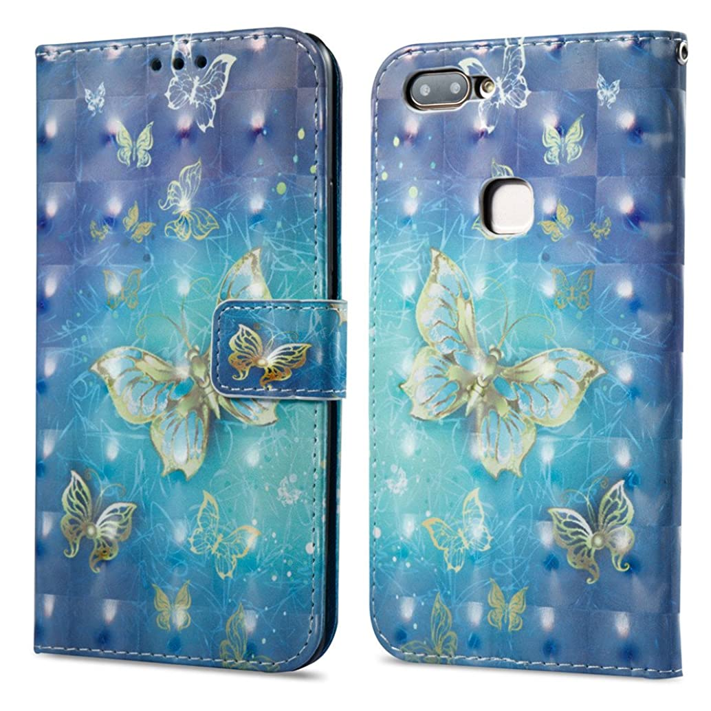 XYX Wallet Case for vivo X20,Painted Effect Design PU Leather Wallet Phone Case for VIVO X20 - Gold Butterfly