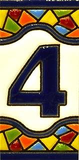 Números casa. Letreros con numeros y letras en azulejo de ceramica policromada, pintados a mano en técnica cuerda seca para placas con nombres, direcciones y señaléctica. Texto personalizable. Diseño MOSAICO MINI 7,3 cm x 3,5 cm. (NUMERO CUATRO