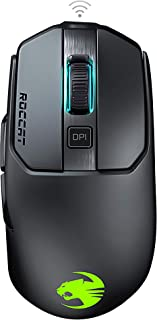 Roccat Kain 200 AIMO RGB - Ratón inalámbrico para Videojuegos (16.000 PPP, Sensor de Ojo de búho, 89G Ultraligero, tecnología Titan Clic), Color Negro