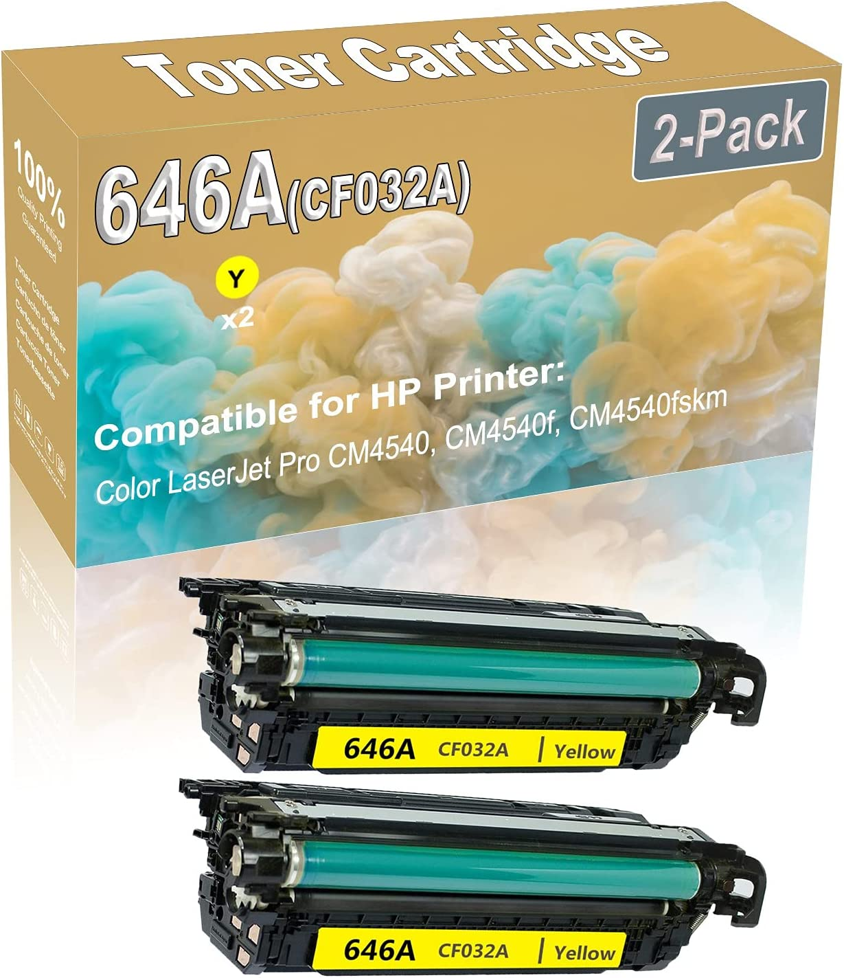 2-Pack (Yellow) Compatible CM4540 CM4540f Laser Printer Toner Cartridge (High Capacity) Replacement for HP 646A (CF032A) Printer Toner Cartridge