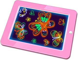 Hzran Crazy Disco Neon Light Up Glow Board-Magic Drawing Board - Writing Maker -Learning, Create, Art Tablet-Musical Light Up Tracing Pad for Kids, Gift for Kids, Pink