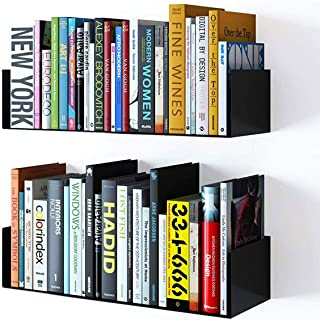 Wallniture Bali Floating Wall Mount Metal U Shape Shelf Book CD DVD Storage Display Bookcase Black Set of 2