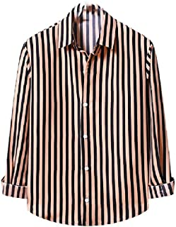 Zimaes Men Plus Size Casual Loose Long Sleeve Striped Classic T-Shirt