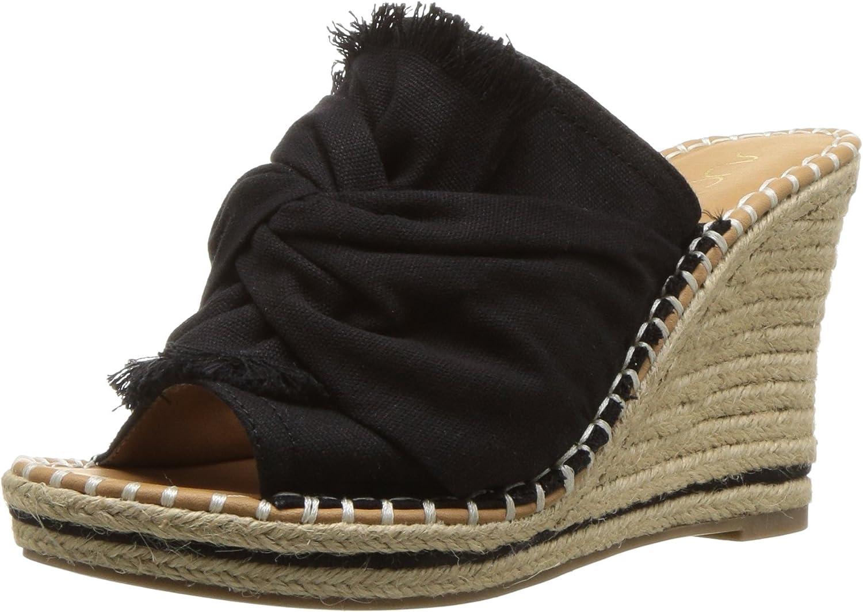 Sugar Womens Women's Honora Slip-on Open Back Espadrille Wedge Sandal Espadrille Wedge Sandal