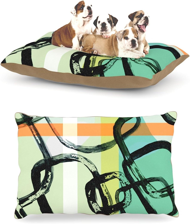 Kess InHouse Theresa Giolzetti Sixties Stripe  Teal orange Dog Bed