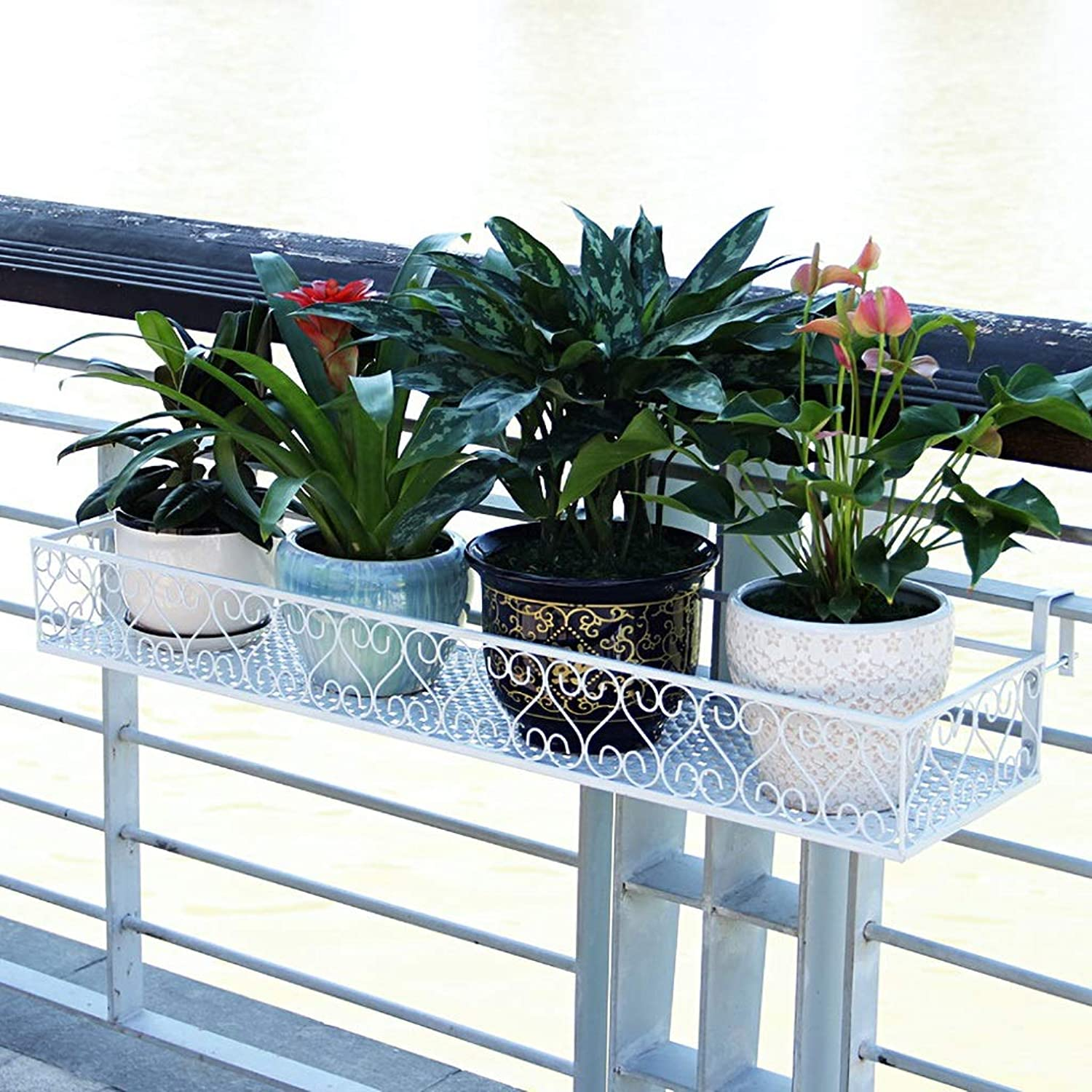 Standing Flower Stand Plant Stand Iron Armrest Flower Stand Balcony Railing Hanging Plant Flower Stand Wall Pot Rack Hanger Decorative Frame (color   White, Size   100CM)