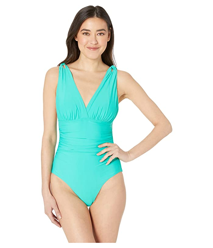 Athena Solid Over the Shoulder Surplice One-Piece (Jade) Women