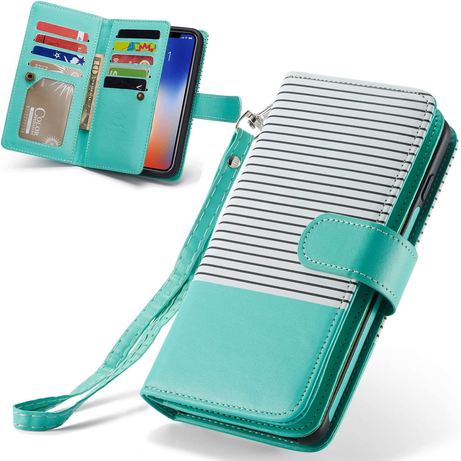 XRPow iPhone XR Case, [2 in 1] iPhone XR Magnetic Detachable Wallet Case [PU Leather] Folio Flip [9 Card Slot] [Wrist Strap] Durable Protection Back Cover for iPhone XR 6.1Inch (Green)