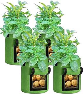 حقيبة نمو البطاطس، أكياس غير منسوجة لتهوية الهواء مع مقبض وغطاء للدخل، لحديقة بطاطس الطماطم والخضروات الأخرى (7 جالون، أخضر)