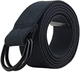 "Men's & Women's Canvas D-Ring Buckle Belts, (Many Colors & For Waists 28-54"")"