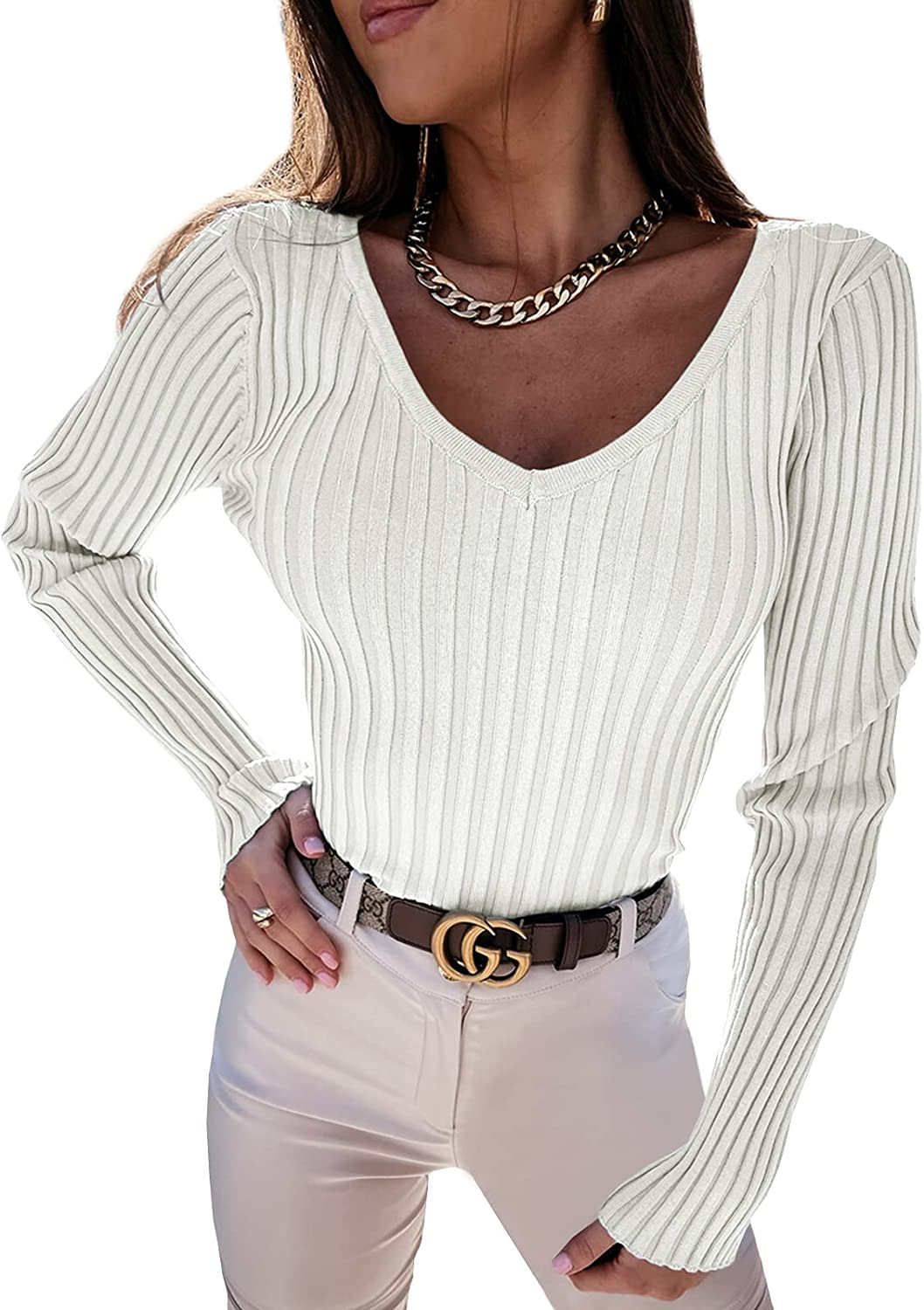 Vermisse Womens V Neck Ribbed Knit Sweater Backless Slim Fitted Basic Pullover Tops