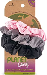 Goody Planet Goody Sustainable Women's Hair Elastic Scrunchies, Neutral Colors, Gray, Pink and Black, 3 Count