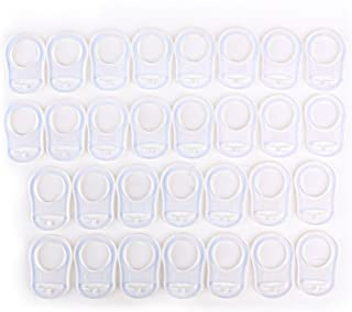 30x CLEAR SILICONE BABY MAM RINGS/DUMMY CLIPS ADAPTER