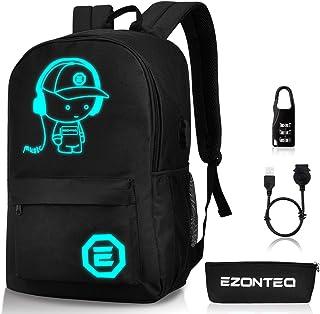 Sac école,EZONTEQ Dos Ecole Sac à Dos Lumineux Sac Enfant Sac College USB Dos Sac Chargeur Sac Antivol pour Ordinateur Sac...