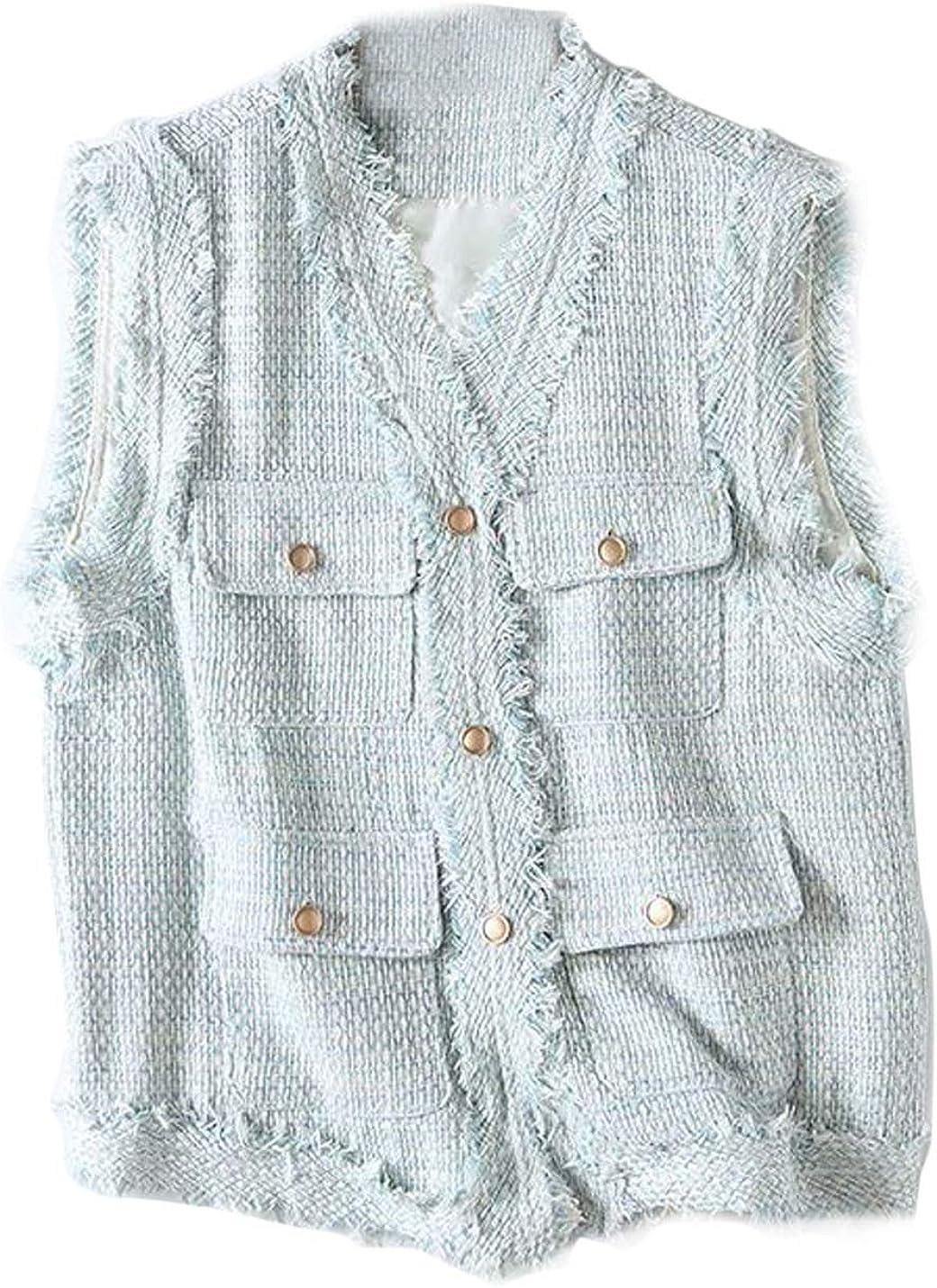 Flygo Women's Vintage V Neck Tweed Sleeveless Tunic Vest with Pockets