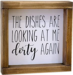 Lavender Inspired The Dishes are Looking at Me Dirty Again -Funny Kitchen Signs-Mini Farmhouse Framed Kitchen Decor-Tiered Tray Sign-Kitchen Counter-Rae Dunn Sign-Shelf Sitter-Kitchen Humor-Moms Gift