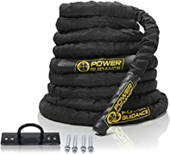 POWER GUIDANCE Battle Rope, 1.5/2 Inch Diameter Poly Dacron 30, 40, 50Ft Length Exercise Equipment for Home Gym & Outdoor ...