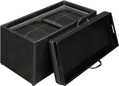 Convenience Concepts Designs4Comfort Sheridan Storage Bench w / 2 Side Ottomans, Black