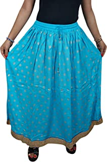 Mogul Interior Womans Maxi Skirt Blue Border Bohochic Fit and Flare Long Skirts M/L