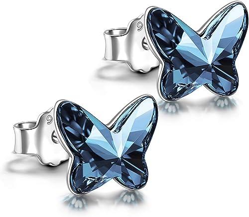 ANGEL NINA Boucles d'Oreilles Papillon Femme et Fille,Boucle d'Oreille en Argent Sterling 925 et Cristal d'Autriche,C...