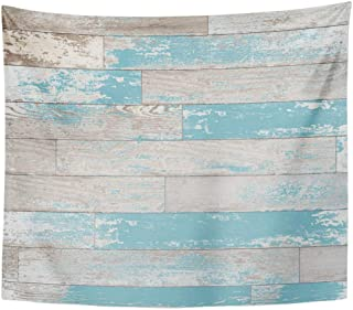 Emvency Decor Wall Tapestry Blue Worn Brown Turquoise and Teal Wood Boards on Wall Vintage Colored Stain Paint Old World Feel Colorful Wall Hanging Picnic for Bedroom Living Room Dorm 80x60 Inches