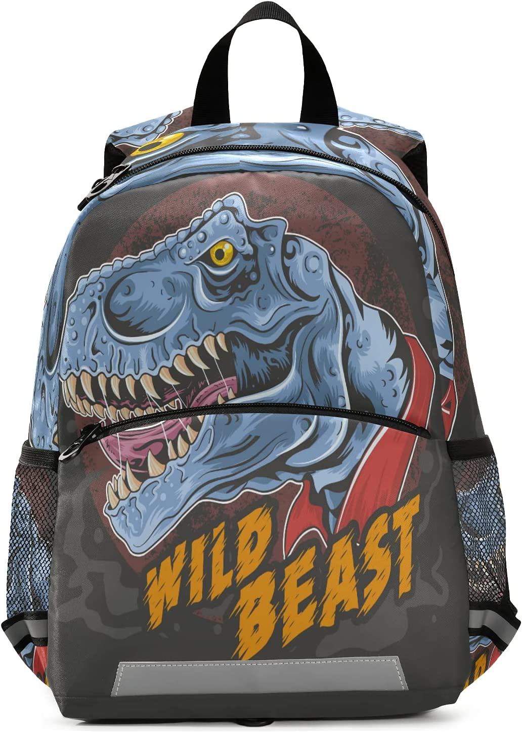 Wild Beast Dino Backpack for Boys and Girls Kid's Preschool Nursery Book bags Toddlers Kindergarten Schoolbags with Chest Clip and Safety Leash Children Daycare Bag Perfect Size for School and Travel