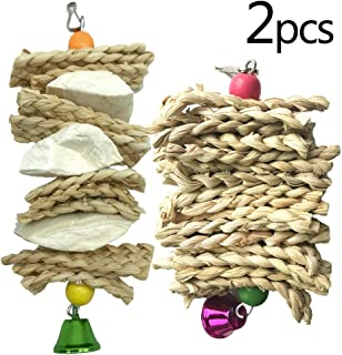 kathson Bird Cuttlebone Beak Stone, Parrot Trimming Toys Grass Woven Chewing Calcium Supplement for Conures Parakeets Cockatiels and Lovebirds
