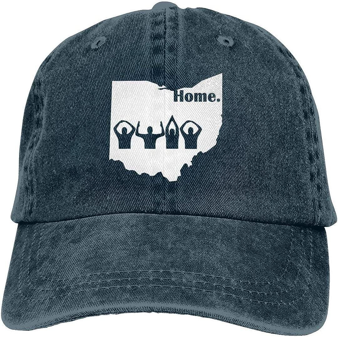 KEQU Ohio Home State Retro Adjustable Cowboy Denim Hat Unisex Hip Hop Black Baseball Caps Adjustable