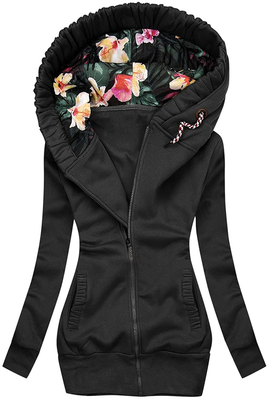 Fashion Sweatshirt Women's Zipper Hooded Jacket with Pockets Elegant Flower Print Long Jacket Coats Plus SizeTops
