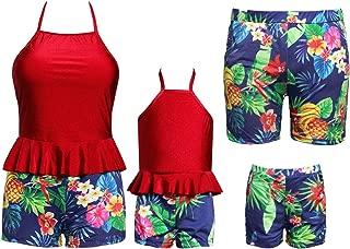 Matching Family Swimwear Ruffle Women Kids Boy Bikini Swimsuit Two Piece Floral Printed Family Matching Swimwear