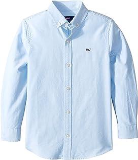 cfdb7fb9 Lacoste Kids Long Sleeve Classic Oxford Shirt (Little Kids/Big Kids ...