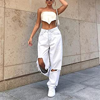 QXXKJDS Mid Waist Boyfriend Fashion Loose Destroyed Women S Classic Hole Baggy Jeans White Women S Vintage Pants Wide Leg ...