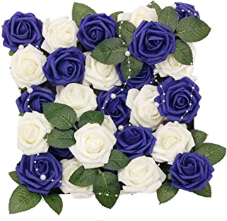 Meiliy 60pcs Artificial Flowers Navy + Ivory Roses Real Looking Foam Roses Bulk w/Stem for DIY Wedding Bouquets Corsages Centerpieces Arrangements Baby Shower Cake Flower Decorations