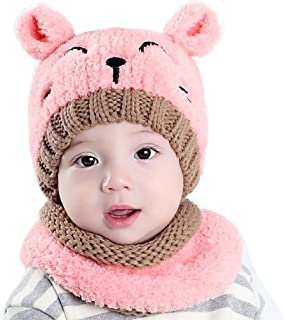 CoKate Baby Hat and Scarf 2pcs Set, Infant Winter Knit Beanie Caps with Scarves (Pink)